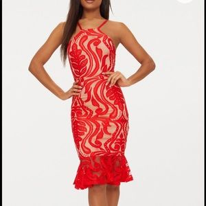 Pretty Little Thing Red Lace Frill Hem Midi Dress